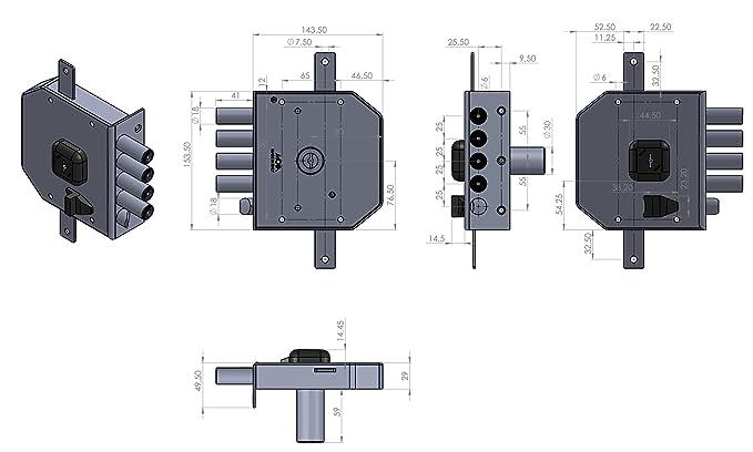 Moia Cerradura con Tres Puntos, para Sobreponer, G434Dx, con Llave De Pompa Y Tirador Interior: Amazon.es: Hogar