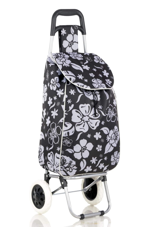 2 Wheel Strong Shopping Trolley Festival Essential Folding Durable Wheeled Bag (Black) GB BAZAAR