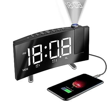 HQQNUO Radio Despertador Proyector Reloj Despertador Digital Dobles Alarmas Función Snooze Puerto USB Reloj de Proyección Giratorio de 120 EU Plug ...