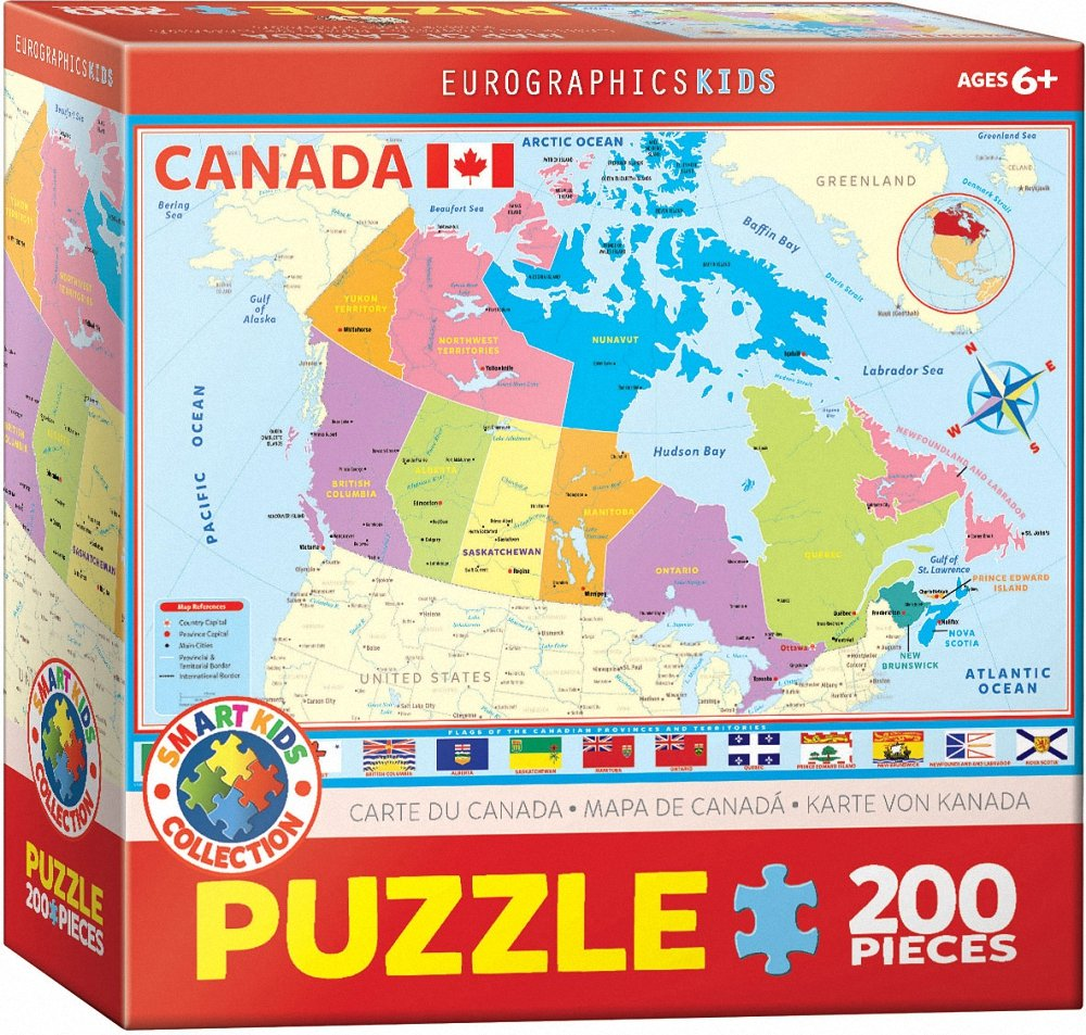 200 Piece Eurographics Toys 6200-0797 EuroGraphics Map of Canada Puzzle