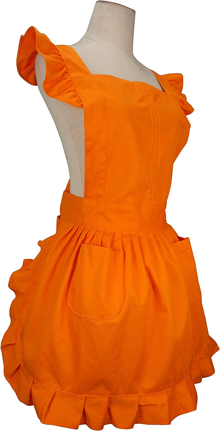 LilMents Retro Adjustable Ruffle Apron Kitchen Cooking Baking Cleaning Maid Costume Cappucino