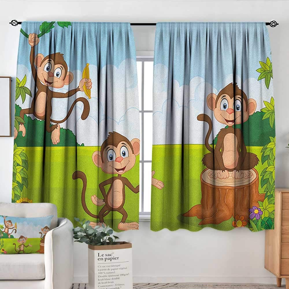 color06 42 W x 54 L Sliding Curtains Nursery,Various Different Animal Figures and Nature Themed Cartoon Characters Babies Kids, Multicolor,Thermal Insulated Light Blocking Drapes for Bedroom 42 x54