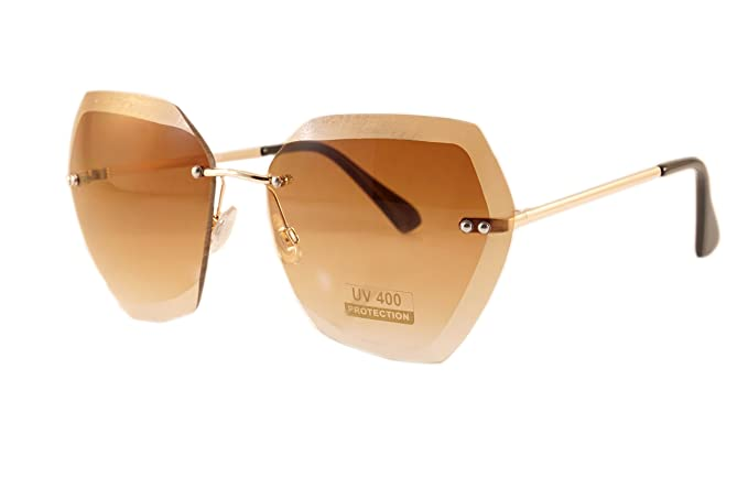 717ccdcd93dc FBL Oversize Rimless Diamond Cutting Clear Gradient Lens Sunglasses A113  ((Gold) Brown