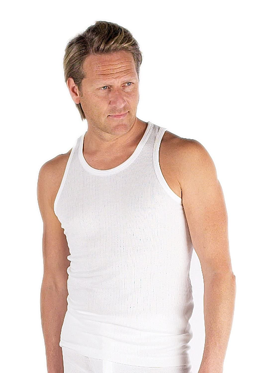 Value Pack Of 6 Thermal Underwear Sleeveless Vest White, Various Sizes
