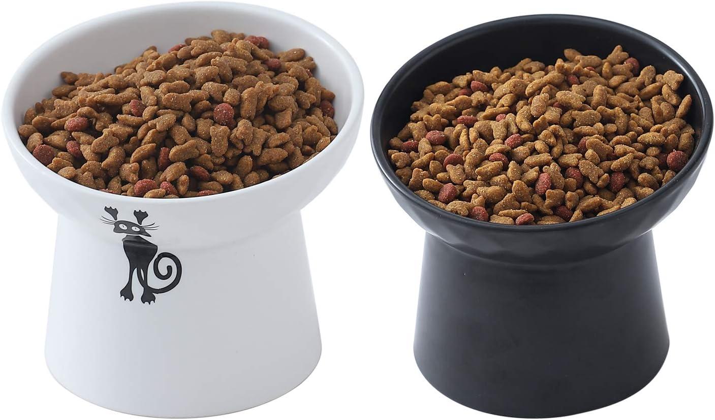OMAYKEY Raised Ceramic Cat Pet Food Bowls, Porcelain Tilted Elevated Pet Water Bowls Set, Elevated Stress Free Backflow Cat Bowl Dish, Dishwasher and Microwave Safe, Set of 2 (White & Black)