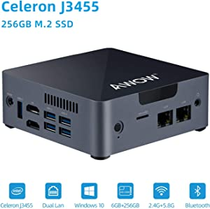Mini PC Intel Celeron J3455 6GB DDR4, 256GB SSD, Mini Desktop Computer, AWOW AK34 Micro PC, Windows 10, Quad Core, Dual Gigabit Ethernet NIC, Dual HDMI, 5X USB3.0, 4K UHD, Bluetooth