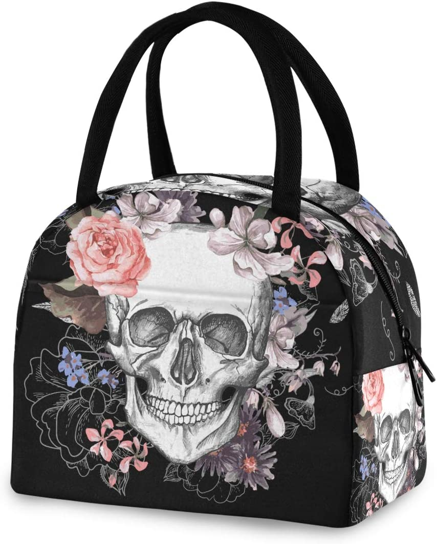 Sugar Skull Flowers Day Of The Dead Insulated Lunch Bag Box for Women Men Froal Butterfly Thermal Lunch Food Tote Cooler Bag Snacks Organizer for Travel Work School Picnic Beach
