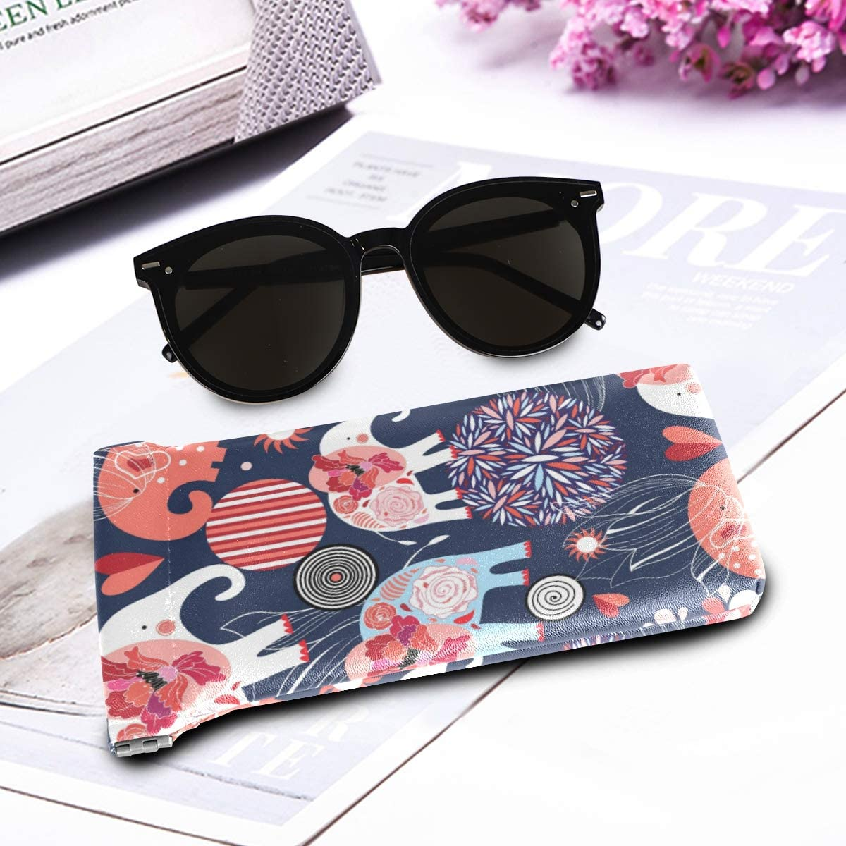 Squeeze Top Fashion Glasses Case Illustrator Octopus Portable Womens Sunglass Case Eyeglass Cases Sunglasses Pouch Eyeglass Bag