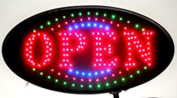 OPEN with Blue//Green Tracer by e-onsale Jumbo 24 x 13 LED Neon Sign with Motion