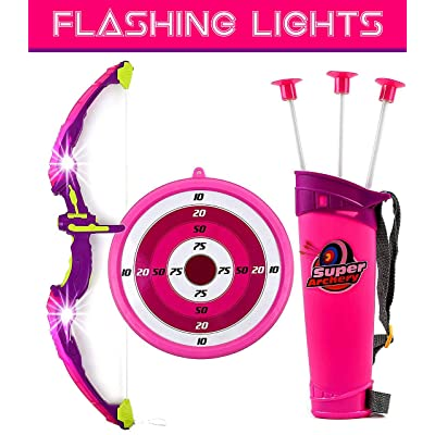 Toysery Bow and Arrow for Kids Set with LED Flashing Lights | Archery Set | Arrow Holder Target and Quiver Outdoor Toys | Pink Light Up Function | Hunting Series Toy for Boys and Girls: Toys & Games