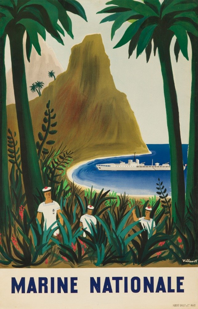 Marine Nationaleヴィンテージポスター(アーティスト: Villemot、Bernard )フランスC。1947 24 x 36 Giclee Print LANT-63764-24x36 B017ZL3KFS  24 x 36 Giclee Print