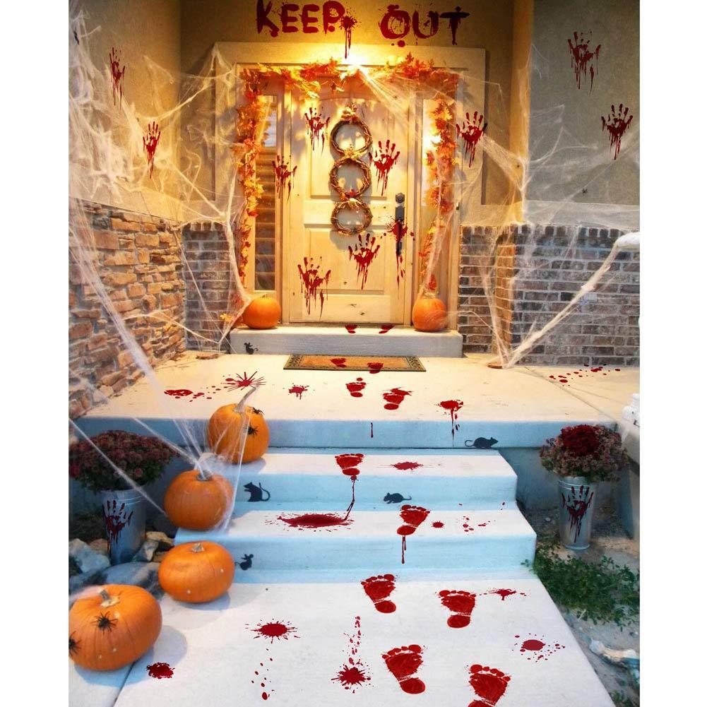 Halloween Party Decorations Zombie Vampire Halloween Party Decor Bloody  Hand Footprints Window Wall Decals Zombie Vampire Party Supplies  Decorations