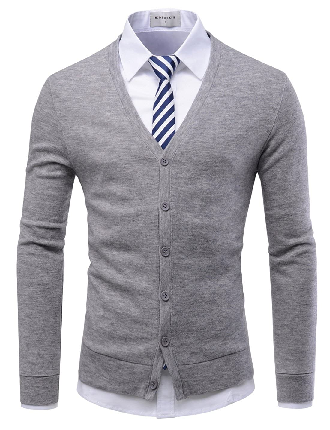 86918578 NEARKIN Mens Casual Shawl Collar Long Sleeve Slim fit Knit Cardigan Sweaters