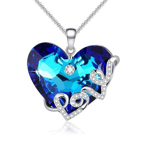 1b0d11b1ee64f Collar Mujeres - Cadenas de Corazones con Amor - SWAROVSKI Colgante de  Corazón de Cristal -