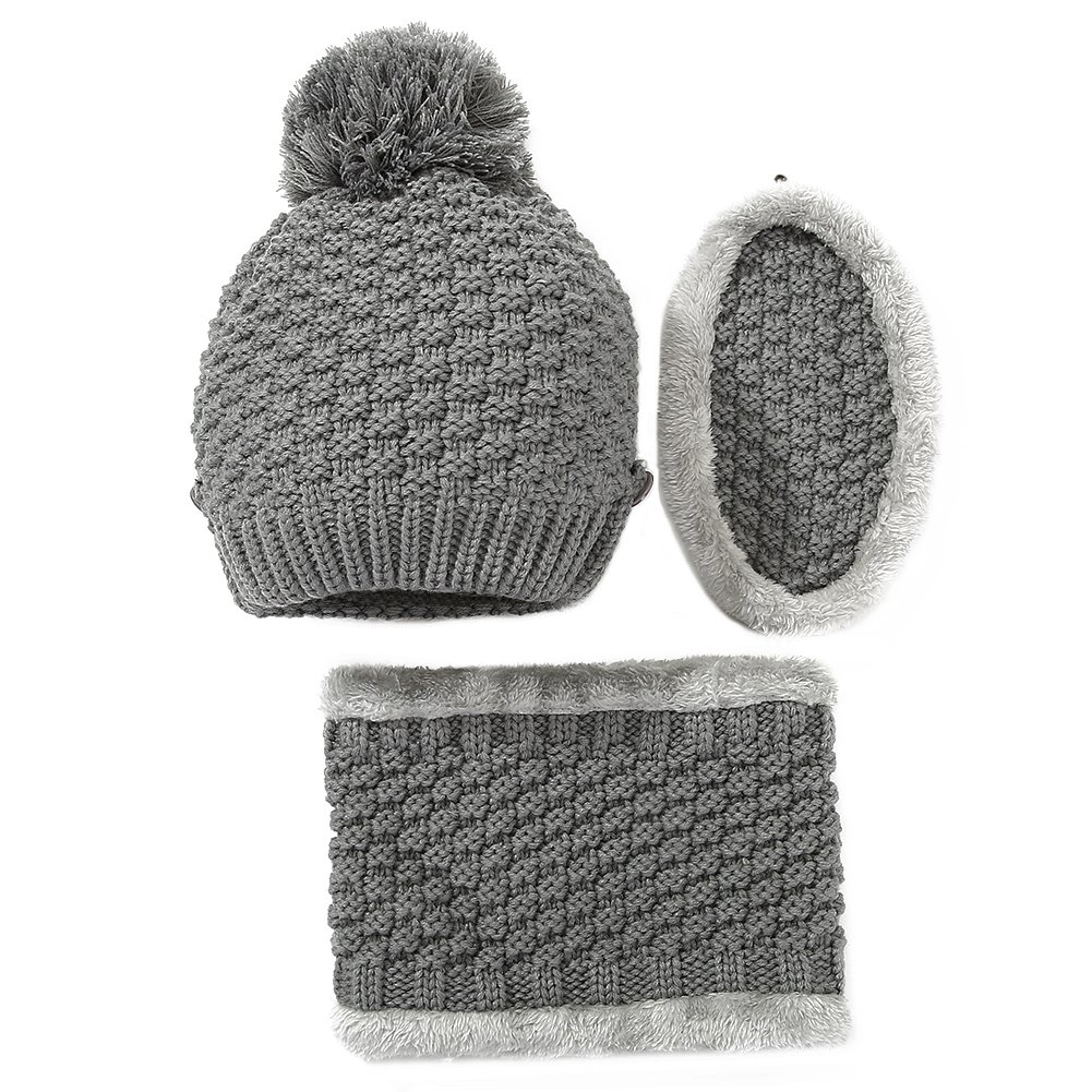 Vbiger Kids Warm Knitted Beanie Hat and Circle Scarf Set A-Black