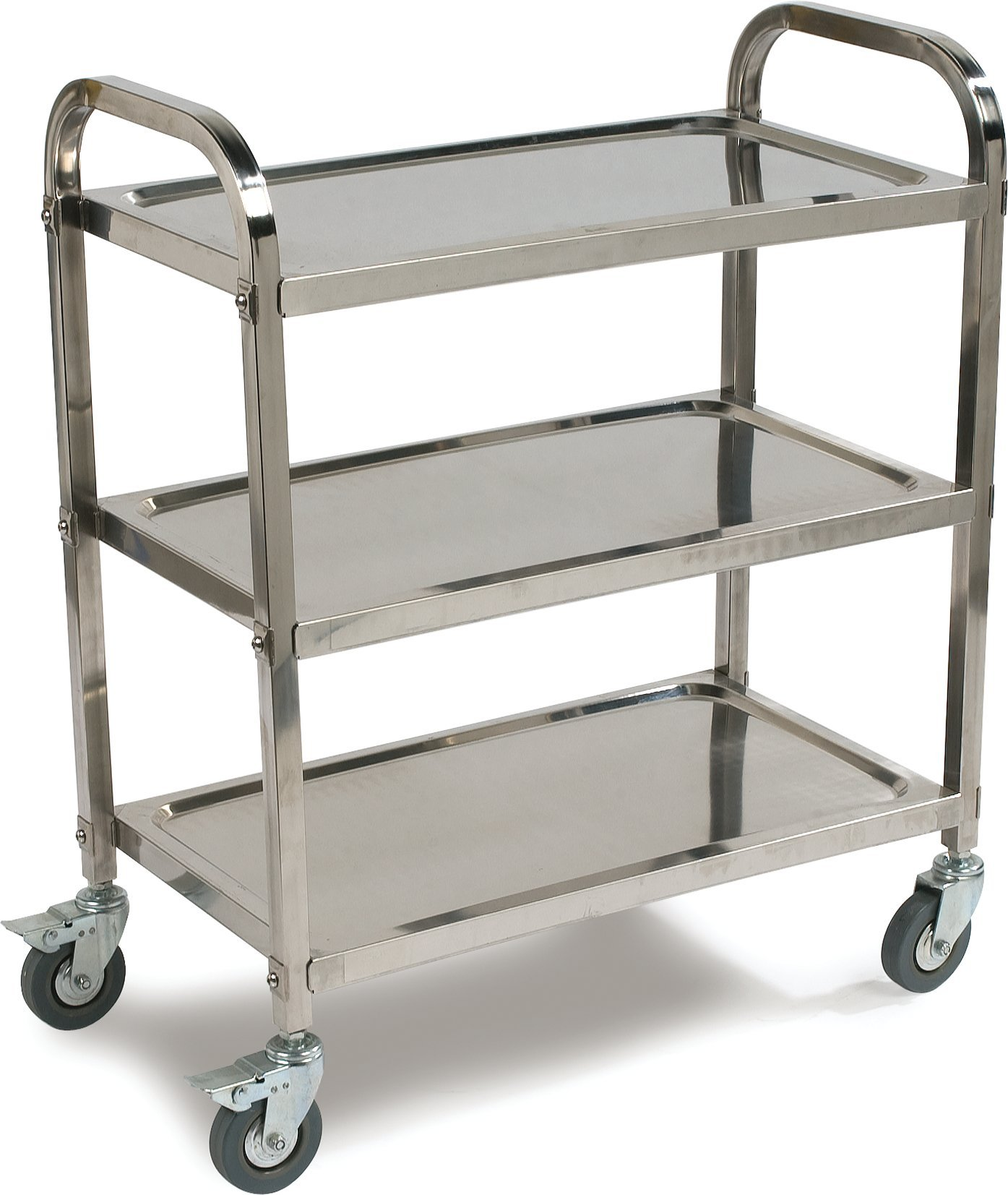 Carlisle UC4031529  Knockdown Stainless Steel 3 Shelf Utility / Service Cart, 400 lb. Capacity