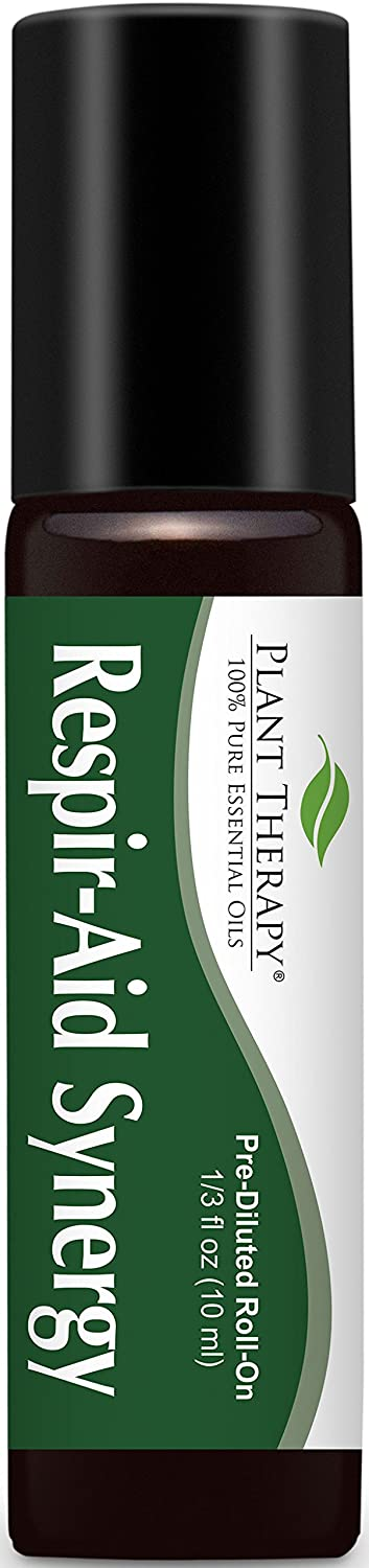 Respir-Aid Synergy Pre-Diluted Essential Oil Roll-On 10 ml (1/3 fl oz). Ready to use! Plant Therapy Essential Oils