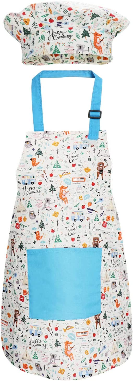 Jennice House Kids Apron and Chef Hat Set, Cute Children Baking Aprons with Adjustable Neck Strap and Pockets for Girls Boys Cooking Baking Painting Gardening in 2 Sizes (Blue Animals, Small)