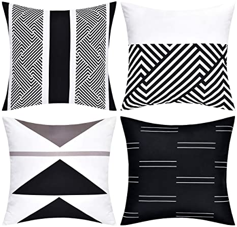 Vertkrea Throw Pillow Covers Modern Geometric Pillowcase Set Of 4 Throw Cushion Cover For Bed Couch Sofa Office Decor 18 18 Inches Black And White Home Kitchen