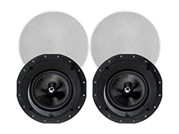 Monoprice 2 Way Carbon Fiber In Ceiling Speakers 8 Inch With 15 Degree Angled Drivers Pair Alpha Series