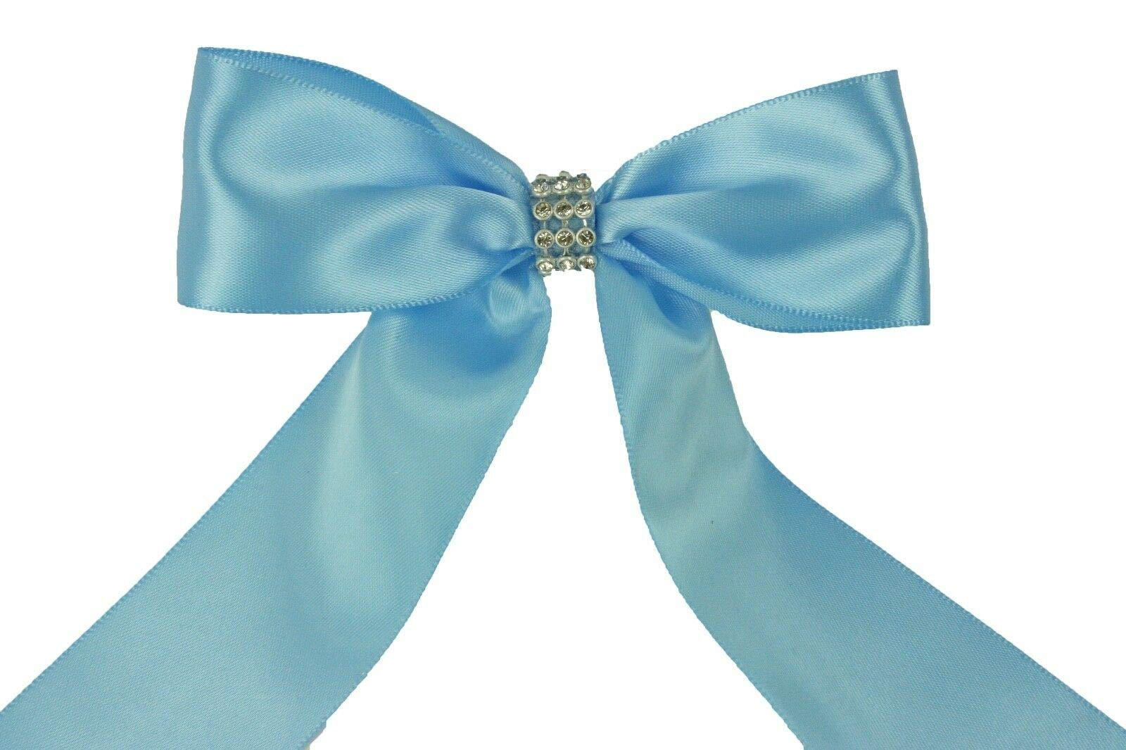 Bright Sun Blue Mist (Set of 10) Pre-Made 1-1/2'' Satin Bows Rhinestone Center Design with Wire Tie #DPNH