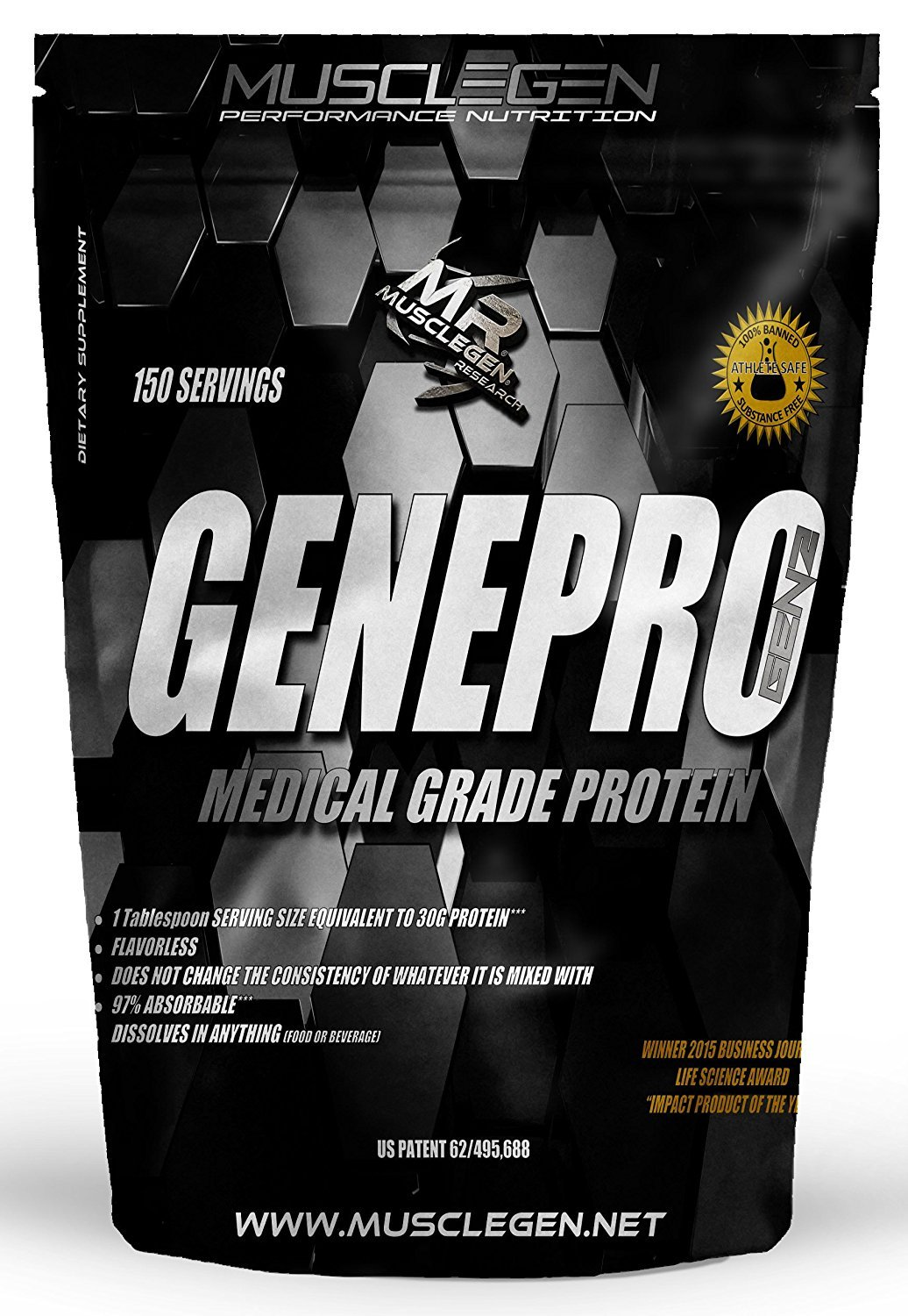 Medical Grade Protein, GENEPRO by Musclegen Research - Premium Protein for Absorption, Muscle Growth & Mix-Abilty. Gluten Free, No Sugar, Flavorless and Mixes with any Drink. Bag varies.
