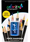 Travel Pencil Sharpener by ColorIt - Pocket-sized and Stores Pencil Shavings. Designed to Sharpen Standard Graphite and Colored Pencils