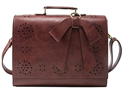 a485ebb60817 Image Unavailable. Image not available for. Color  ECOSUSI Ladies PU Leather  Laptop Bag Briefcase Crossbody Messenger Bags Satchel Purse ...