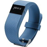 Stylos Tech Brazalete Inteligente Rises Color Azul, Podómetro, Contador de Calorías, Monitor de Sueño, alarmas y Llamadas entrantes.