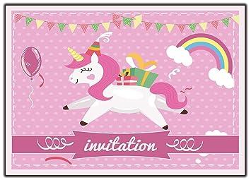 Licorne Invitation Anniversaire Lot De 12 Cartes D Invitation Avec Chevaux Arc En Ciel Ballon Pour Un Anniversaire Carte Enfant Unicorn