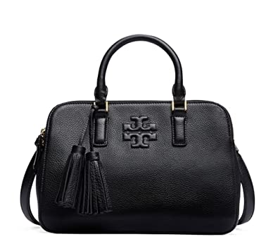 92b138996efb Tory Burch Thea Small Rounded Double-zip Satchel Black Leather Bag   Handbags  Amazon.com