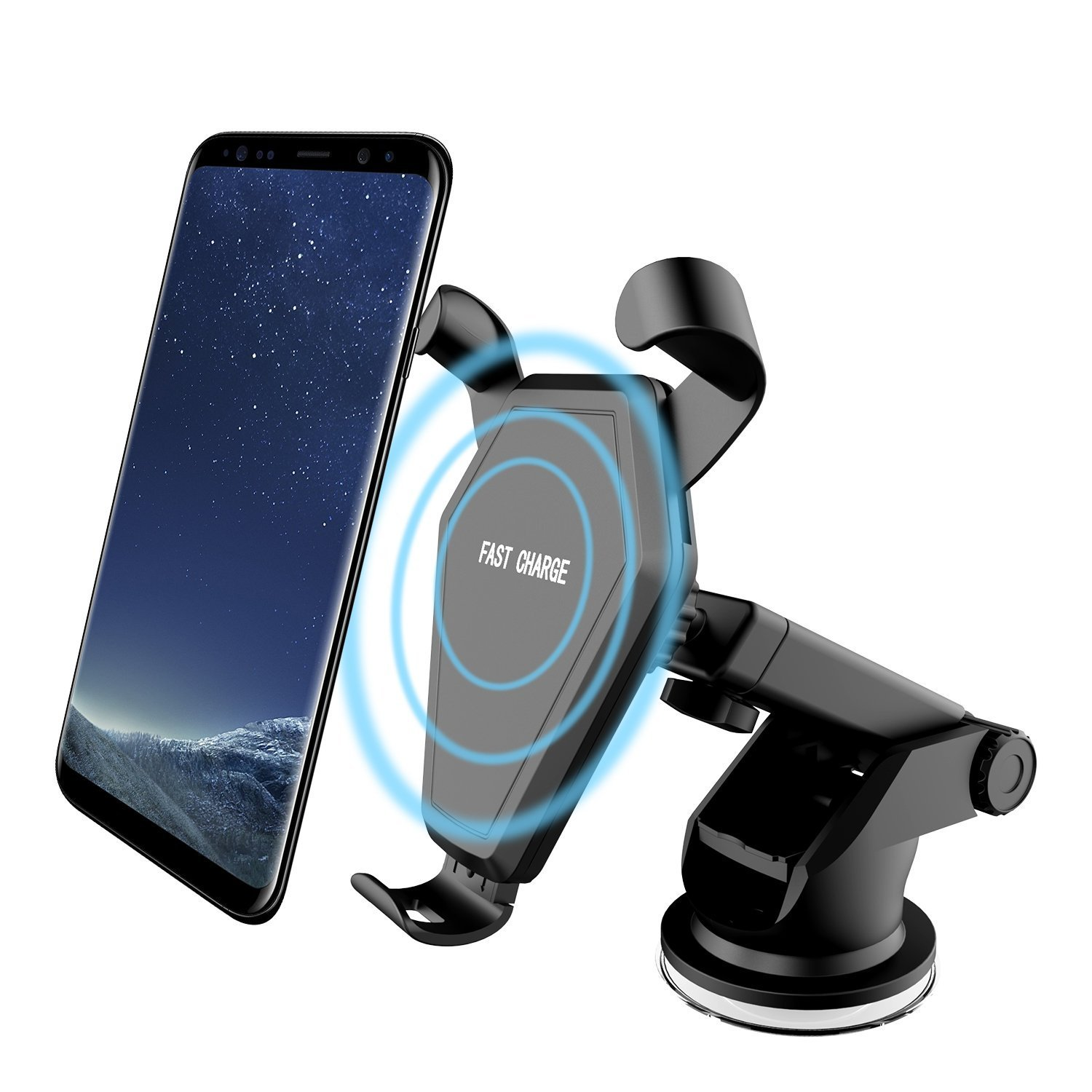 Wireless Car Charger, Qi Fast Charger Car Mount Air Vent Gravity Phone Holder for Samsung Galaxy S8/S8+/S7 Edge/S6 Edge+, Standard Charger for iPhone 8/8+/iPhone X and All Qi-Enabled Devices (Black) Beanco Tech