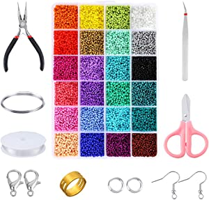 PP OPOUNT 24136 Piece Glass Seed Beads Kit, 24 Assorted Colors Craft Seed Beads with Organizer Box and Other Tools for Jewelry Making, Beading Crafting(2mm x 1mm)
