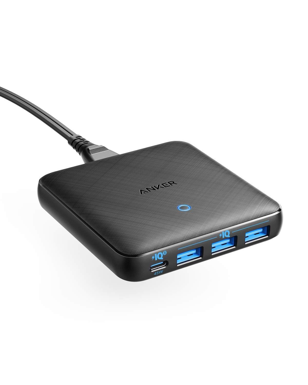 Anker PowerPort Atom Ⅲ Slim (4ポート)(PD対応 65W 4ポートUSB-C 急速充電器)【PowerIQ3.0搭載 / Power Delivery 対応/GaN(窒素ガリウム)採用】 iPhone 11 / 11 Pro / 11 Pro Max/XS、 MacBook Air 2013、MacBook Pro 15、その他USB-C機器対応 (ブラック)