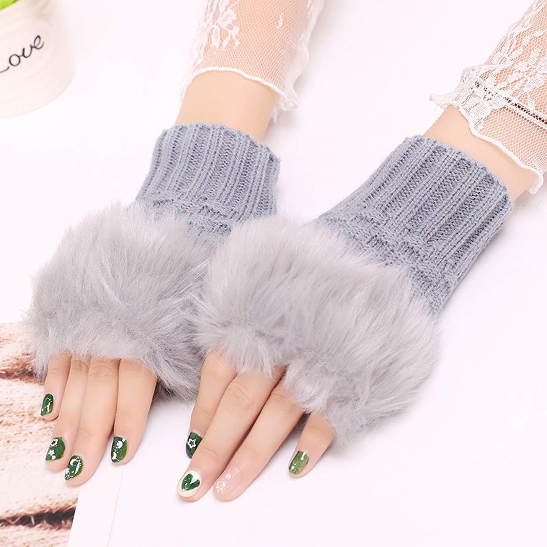 karrychen Women Winter Fluffy Plush Cuff Half Finger Gloves Knit Warm Fingerless Mittens