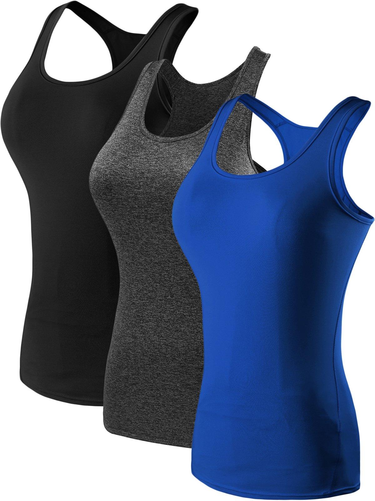 Neleus Women's 3 Pack Compression Athletic Dry Fit Long Tank Top,Black,Grey,Blue,US S,EUR M by Neleus (Image #1)
