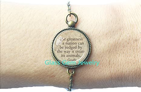GANDHI ANIMAL QUOTE Locket Pendant Gandhi Quote Locket Pendant Sepia Tone Animal Welfare Locket Pendant Animal Rights Kindness Compassion for Animals Jewelry.XY04