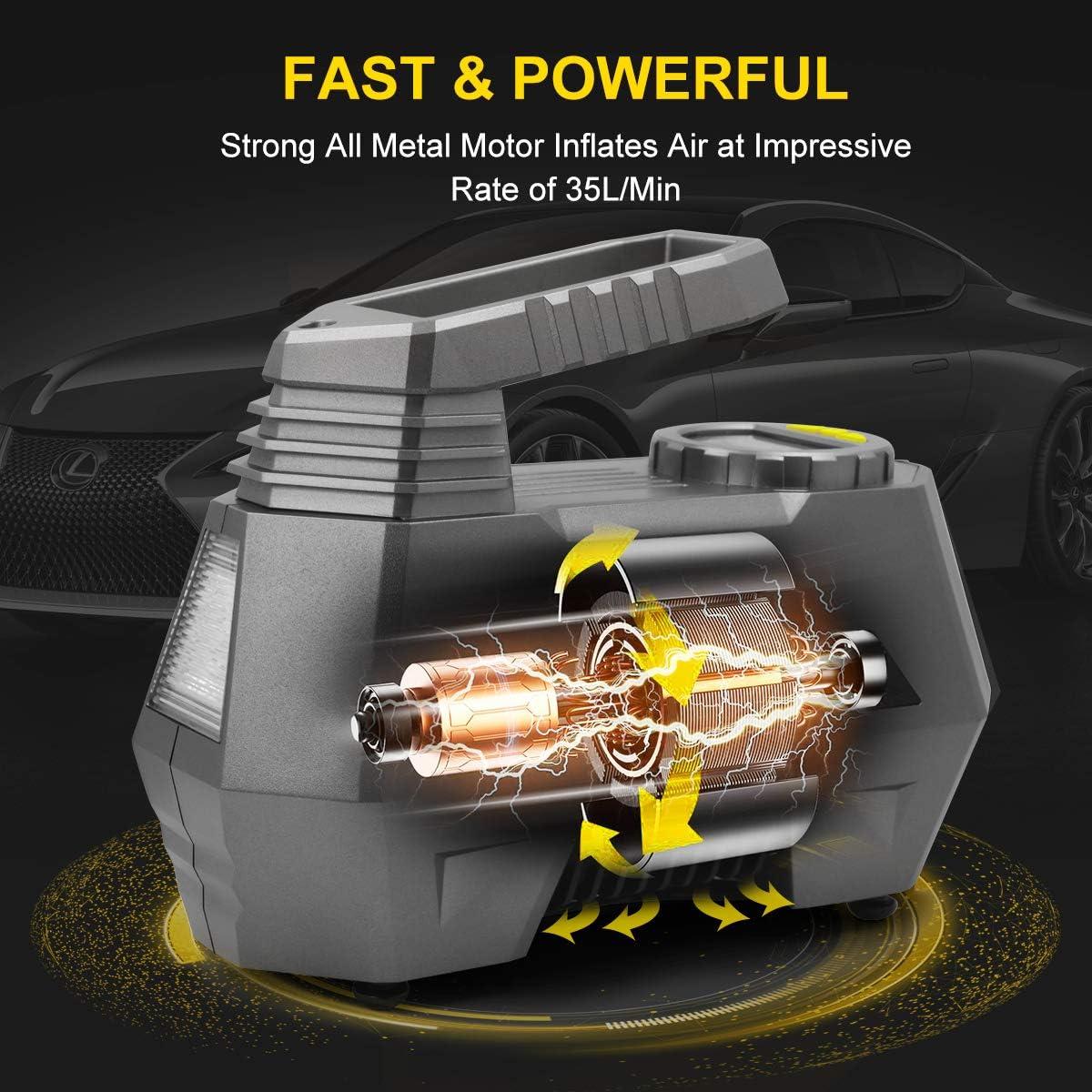 lumi/ère LED Super Lumineuse 3 Buses SKEY Gonfleur de Pneu num/érique avec Grand d/ébit dair 35 l//Min Grand /écran LED pour Voiture//Moto