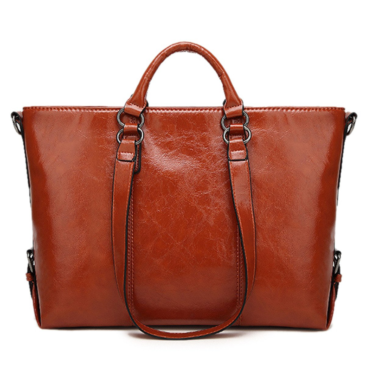 Women Fashion Minimalist Handbag Leisure Business Shoulder Bag Tote Bag Brown 13.78''(L) x 4.72''(W) x 10.63''(H)