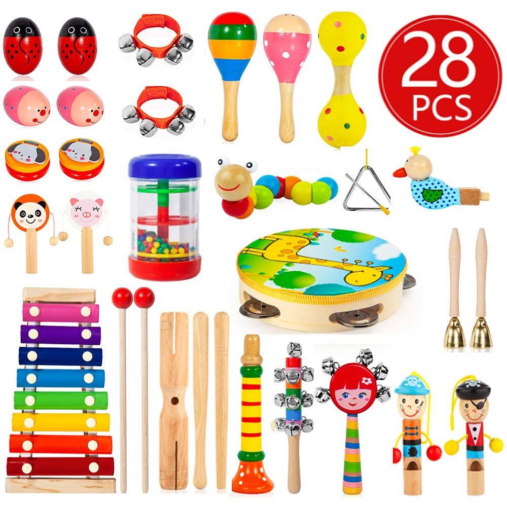 Kids Musical Instruments, 28Pcs 19Types Wooden Instruments Tambourine Xylophone Toys for Kids Children, Preschool Educational Learning Musical Toys for Boys Girls with Storage Baakpack by AOKIWO