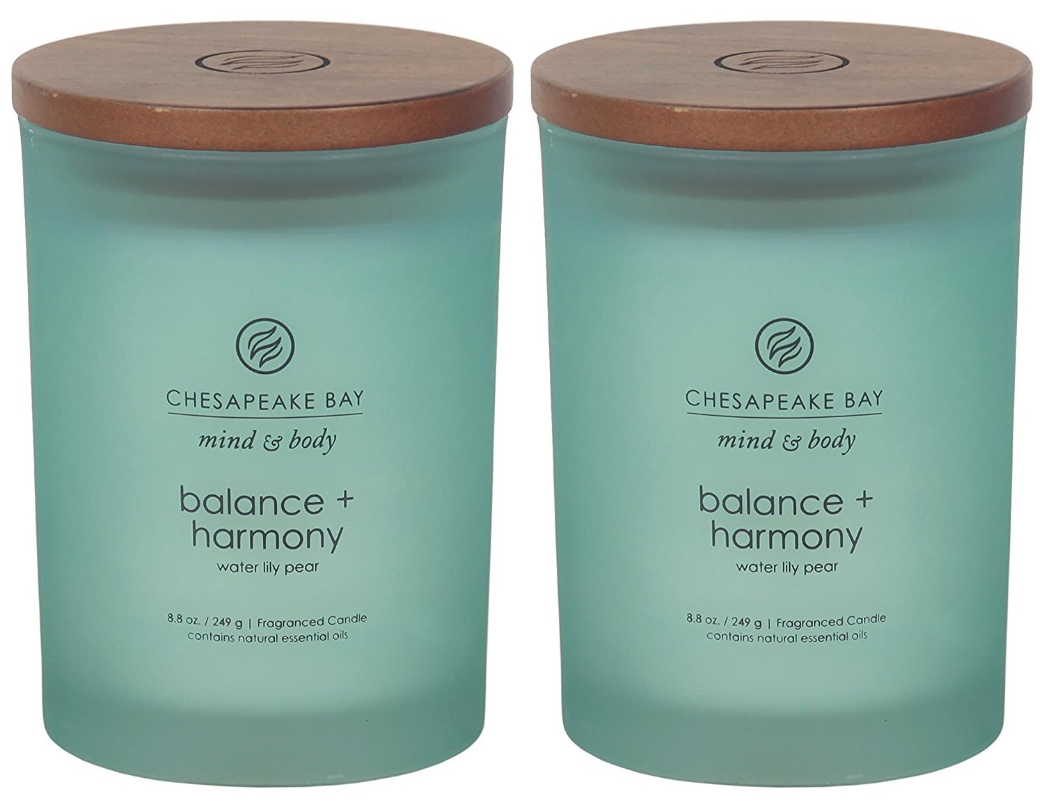 Chesapeake Bay Candle Scented Candles, Balance + Harmony (Water Lily Pear), Medium (2-Pack)