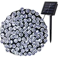 Joomer Solar String Lights 72ft 200 LED 8 Modes Solar Powered Christmas Lights Waterproof Decorative Fairy String Lights for Garden Patio Home Wedding Party Christmas (White)
