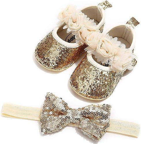 Baby Girl Dress Shoes Newborn Infant Baby Girl Bling Baby Shoes Bling Headband