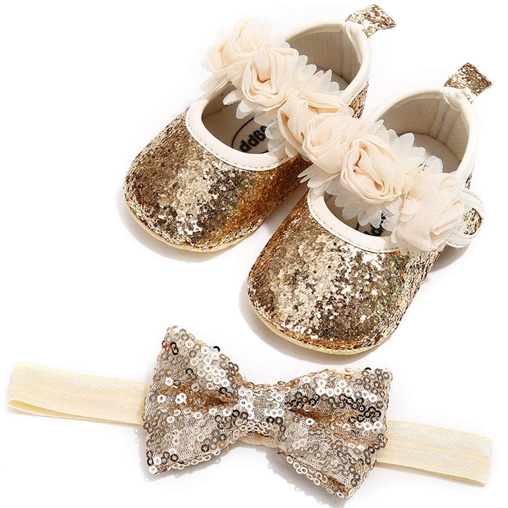 Isbasic Baby Girl Soft Sole Mary Janes with Bow Headband Princess Baptism Crib Dress Shoes