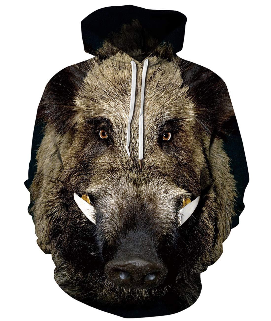 URVIP Unisex Realistic 3D Print Pullover Sweatshirt Hoodies with Big Pockets QYDM-449 S/M by URVIP