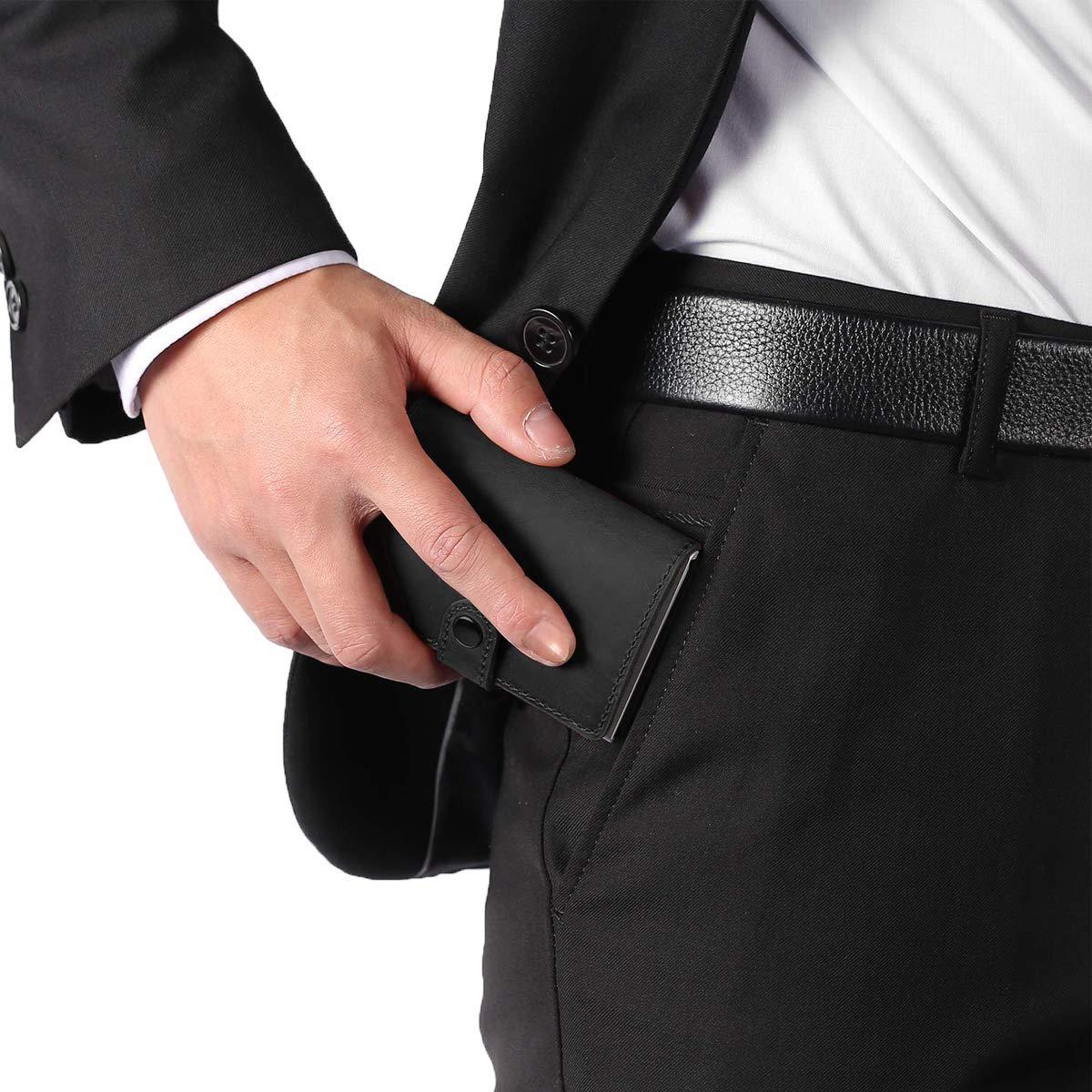 porta carte con fermasoldi Anti-RFID e NFC 2 valigie antifurto in Pelle Crazy Horse e alluminio Porta carte di credito 8 cartes per uomini e donne Nero BOJLY Porta carte di credito