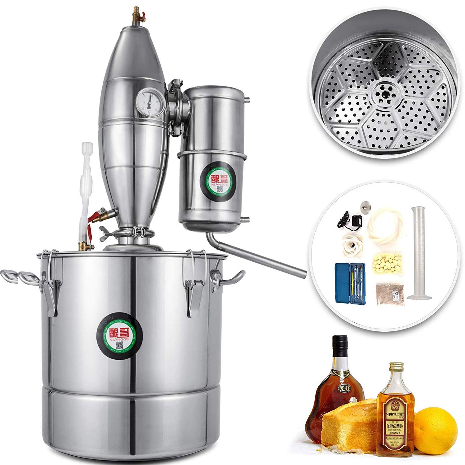 Happybuy Water Alcohol Distiller 30L/7.9Gal Alcohol Distiller Equipped with Water Pump and Thermometer Stainless Steel Wine Making Kit Home Brewing Kit