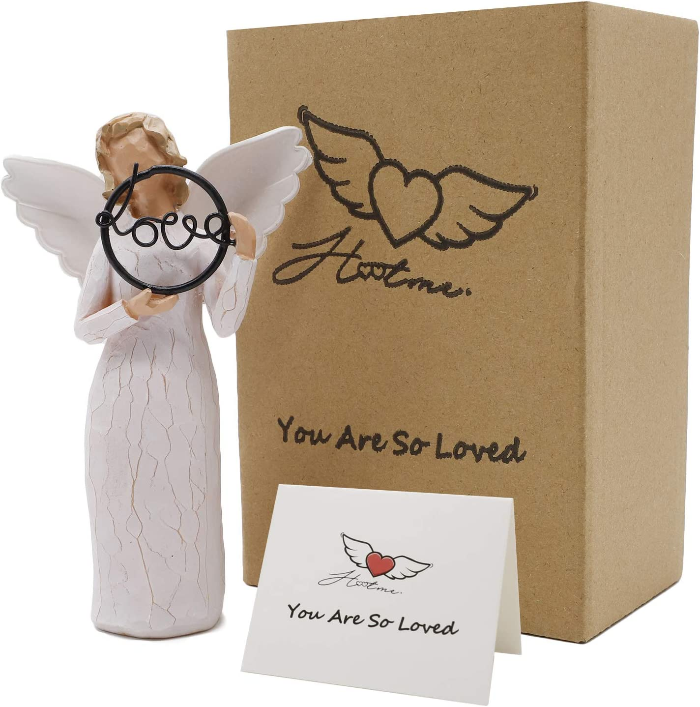 Guardian Angel Figurine, You are So Loved - Hand Carved Praying Angel Sculpture, Encouragement Present, Home Decoration Gift to Show Love, Sympathy, Gratitude, Bereavement, Friendship or Prayer