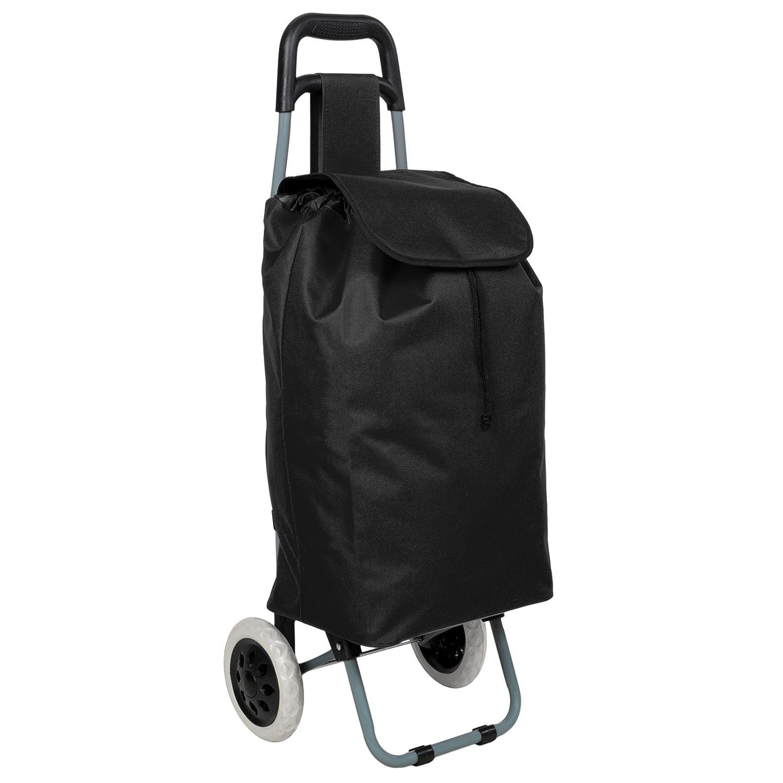 TecTake Trolley per la spesa con 2 ruote pieghevole - disponibile in diversi colori - (Nero) 401270