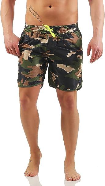 Mivaro Bañador para hombre sin slip interior con bolsillos profundos y secado rápido | Pantalones cortos de natación sin red